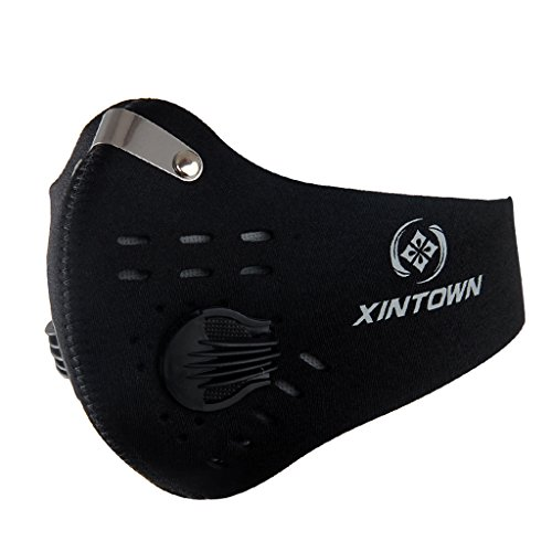Unisex Anti-Staub Halbe Gesichtsmaske Mund Maske mit Filter für Fahrrad Motorrad Bike Reiten Radsport - Schwarz
