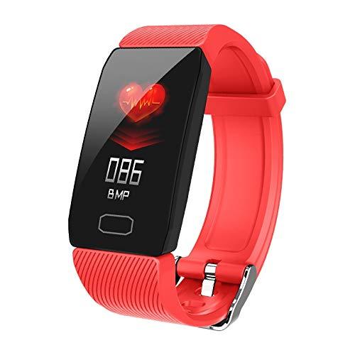 CFCF Neue Art und Weise Geschenk-intelligente Band Weather Display-Blutdruck-Puls-Monitor-Fitness Tracker Smart Watch Armband Wasserdicht Männer Frauen (Color : Red)