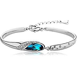 Karatcart Platinum Plated Blue Crystal Kadaa Bracelet For Girls