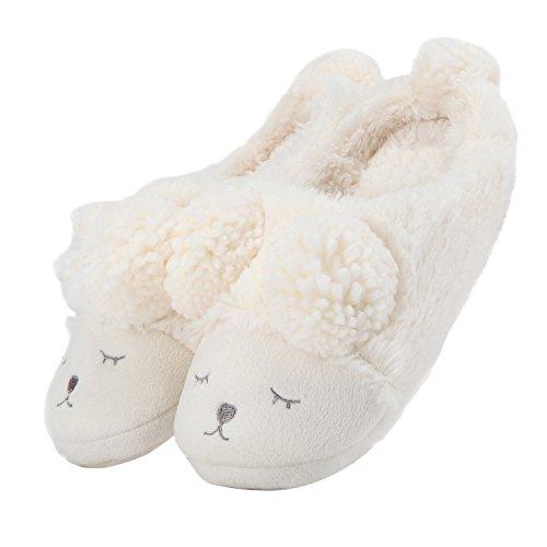 Pantofola peluche invernale animale donna bianca (open back) 36/37 eu