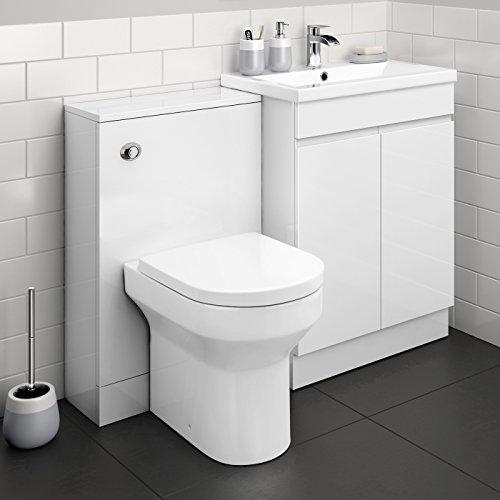 1100 mm Modern Gloss White Bathroom Drawer Vanity Unit Basin Sink + Toilet Furniture Set