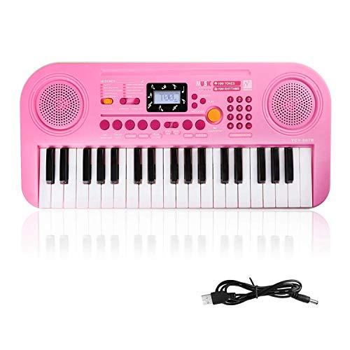Kinder Keyboard, 37 Tasten Klaviere Doppel-Lautsprecher LCD-Display Keyboard Kind Elektronische Orgel, Musikinstrument pädagogisches Spielzeug Geschenk für Kind Kinder Kleinkinder(Rosa)