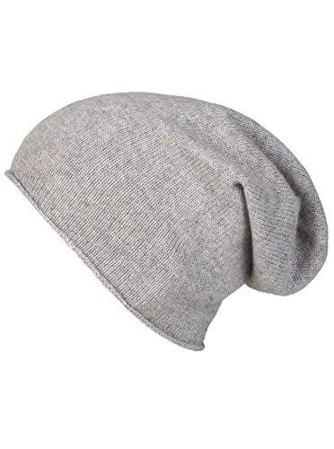 Zwillingsherz Slouch-Beanie-Mütze aus 100% Kaschmir - Hochwertige Strickmütze für Damen Mädchen Jungen - Hat - Unisex - One Size - warm und weich im Sommer Herbst und Winter - HGR -