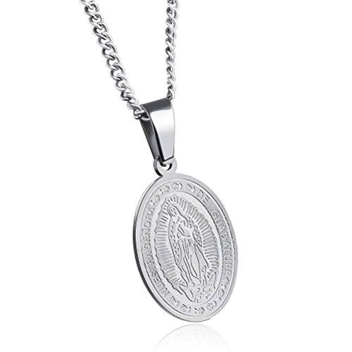 MingXinJia Oval Titanium Steel Anhänger Halskette Katholischen Religiösen Schmuck, Stehlen