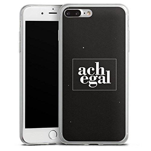 Apple iPhone 8 Slim Case Silikon Hülle Schutzhülle Sprüche Ach egal Schwarz Silikon Slim Case transparent
