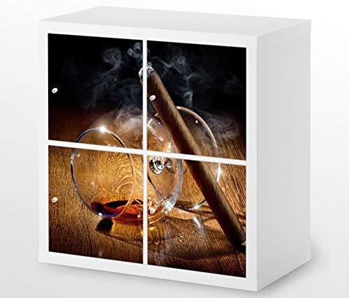 Set Möbelaufkleber für Ikea Kallax 4 Fächer/Schubladen Zigarre Havana Whiskey Kat4 Küche Cognac Aufkleber Möbelfolie sticker (Ohne Möbel) Folie 25H748 -