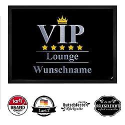 1art1 Personalisierte Fußmatte mit Namen VIP | VIP Lounge Fußmatte Innenbereich und Außenbereich | Fußmatte selbst gestalten | 50 x 70 cm