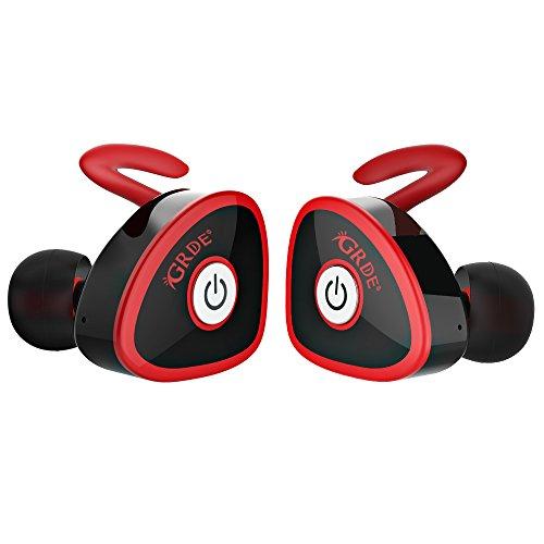 Auricolare Wireless 4.1 Mini, GrandBeing® Migliori in Ear Confortevole Elegante Headset Stereo, Uso Singolo o Doppio, un Cavo con Due Porte di Ingresso, Bassi Profondi Stereo, Bel Suono, con Microfono, Tempo di Gioco: Circa 3- 4 ore, Compatibile IOS e Android System (Rosso)