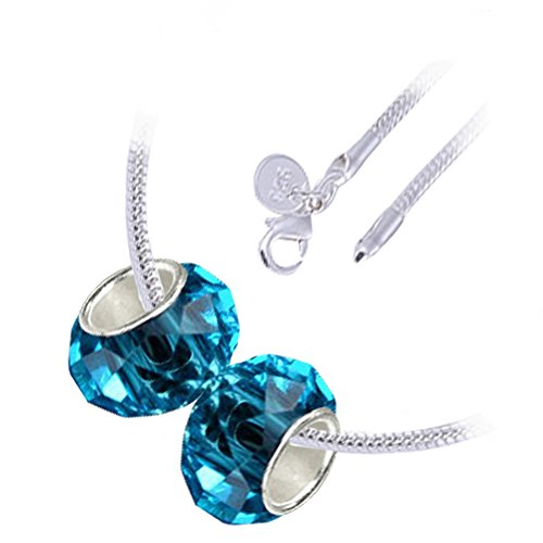 Argento sterling placcato, 2 perline, marzo Birthstone e Pesci Zodiac, Beads Aquamarine blu sfaccettato europee vetro di Murano di fascino, collana pendente di modo