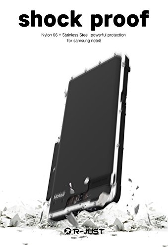 Samsung Galaxy Note 8 hülle,R-just Metall Rahmen Case,Stainless Steel Metal Aluminium Metall Schutzhülle Stoßfest Dropproof Bumper Flip Cover für Samsung Galaxy Note 8 (Schwarz) Tarnung