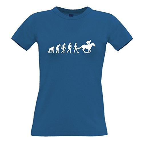 Sport Frauen T-Shirt Evolution of Reiten REIT Blue Medium