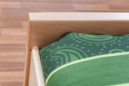 """Single bed """"Easy Sleep"""" K8, solid, natural beech wood - Dimensions: 90 x 200 cm"""