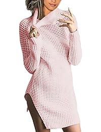 Mujer Vestidos De Punto Cortos Invierno Otoño Jersey Vestido Años 20 Niña Elegantes Casual Manga Larga