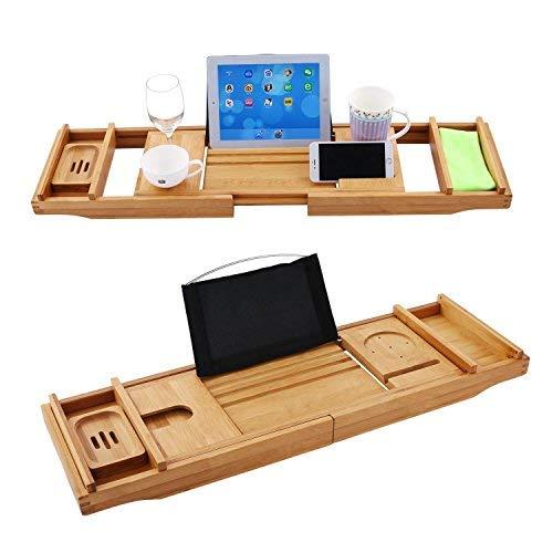 Cooshional Neue Luxus Bad Tablett ausziehbar, natürlichen Bambus Badewanne Caddy Tray Bad Dusche Bad Rack O