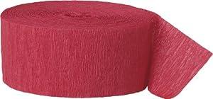 Unique Party- Serpentina de papel crepé para fiestas, Color rojo, 24 cm (6326)
