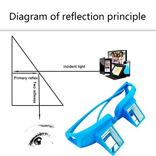 Iahshion Prismenbrille zum Lesen im Bett, Lazy Spectacles, Horizontale Brille, Universal, zum Lesen/Fernsehen, Blau