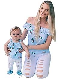 PAOLIAN Camisetas para Bebe Niñas y Mujer Familia Madre e Hija Verano 2018 Sling Sin Tirantes