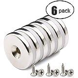 6 PACK Neodym Disc Senkerodiermagnete, Stark, Permanent, Rare Earth Magnet Mit 6PACK Schrauben für Handwerk