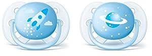 Philips Avent Ultra soft Schnuller 0-6 Monate SCF222/20, blau mit Motiv, Doppelpack, Jungen