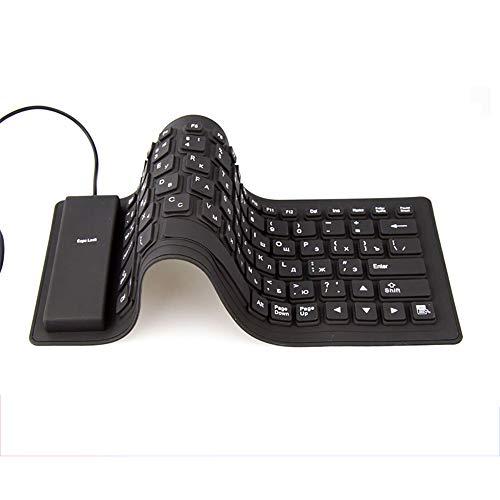 H&T USB-Tastatur, Tragbare, Faltbare Silikontastatur Flexible, Wasserfeste, Weiche Silikontastatur Für Tablet-Computer, Laptop-PC -