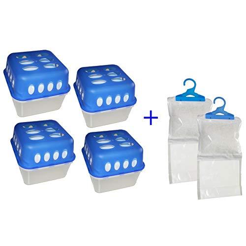 Raumentfeuchter Box + Nachfüllpack Granulat Entfeuchter + Kleiderschrank Luftentfeuchter (4 x Box + 8 x 400g. + 2 x Aufhänger)