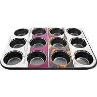 Keraiz - Molde para magdalenas (12 agujeros, acero, 13,78 x 10,43 x 1,18 cm), multicolor