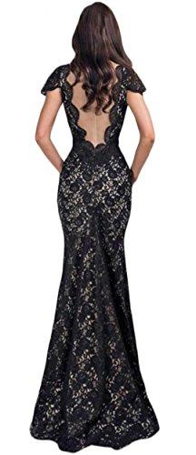 YOGLY Damen Kleid Elegant V-Ausschnitt Maxi Spitze Rückenfrei Chiffon Abendkleider Festkleid Ballkleid Partykleid Cocktailkleid Schwarz