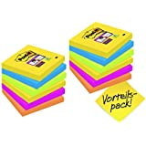 Post-it 654SR9+3 Haftnotiz Super Sticky Notes Promotion (76 x 76 mm) 12 Blöcke (90 Blatt), ultragelb, blau, pink, neongrün, orange