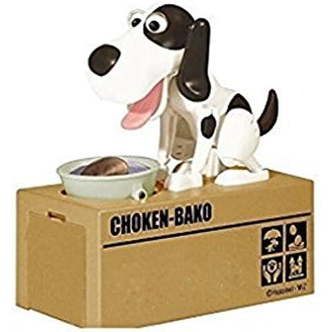 El perro come el banco guarro de la moneda de dinero, regalo de cumpleaños del perro de la hucha perro hambriento salvar caja de dinero hucha