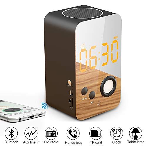 MojiDecor Radiowecker mit Bluetooth Stereo Lautsprecher, 8 In 1 Kabelloser Digataler Wecker mit Nachtlicht, FM Radio, eingebaut Mikrofon Unterstützt FM/ MP3 Player/ 3,5 mm Aux/Micro SD (Modell 1)