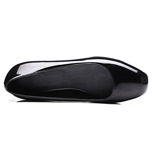COOLCEPT Damen Komfort Flach Schuhe Geschlossene Pumps Slip On Schwarz