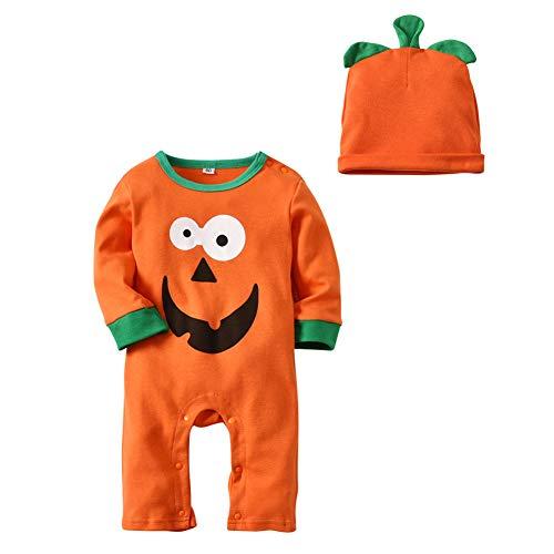 Zooarts Infant Baby Halloween Kürbis Kostüm lustige Spielanzug Outfit mit Hut für 0-18 Monate (80 ()