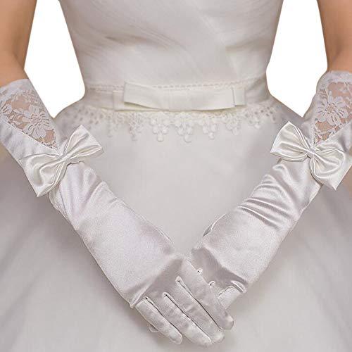 Elegante Satin-Hochzeits-Handschuhe Weiße Blumenspitze-lange Handschuhe beugen Handschuh für Braut -