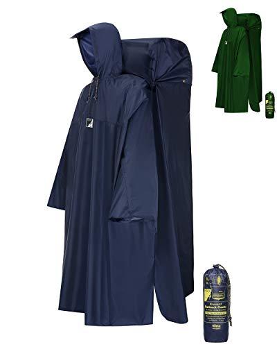 HOCK Regenponcho Wandern \'Kraxen AS\' mit Regenschutz für großen Rucksack - Herren & Damen Regencape Atmungsaktiv mit Sturmhalteband für Wanderprofis - Extra Langer Wanderponcho mit verstellbarer Vorderlänge - Blau - M