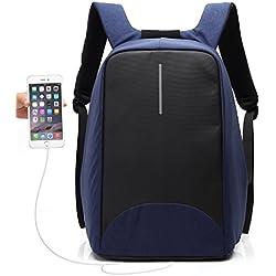 Mochila Antirrobo UBaymax USB Mochila de seguridad con cargador, Mochila Bolsa Impermeable de colegio viaje negocios, Mochila para ordenador portátil 15.6, regalo para estudiantes/hombre /mujer (Azul marino)