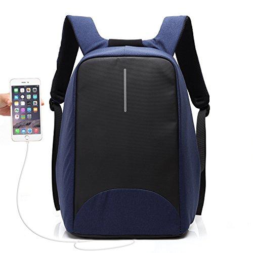 Pocket-pc-leder (UBaymax Anti-Diebstahl Laptop Rucksack mit USB Anschluss für Schule,Uni,Business,Reisen,15,6 Zoll ,Größe: 31 * 46 * 14 cm,für Herren,Damen,Kinder,Canvas Wasserdicht,Navy Blau)