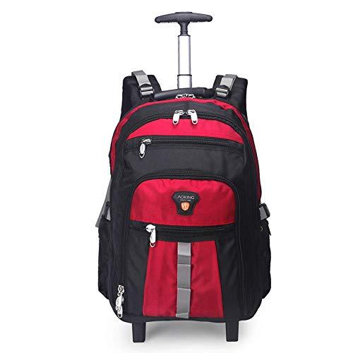 Flight Case Cabin Rucksack auf Rädern Wandern Trekking Camping Bergteleskopstiel Rucksack, super leichte Wasserdichte Reise Wheeled Rollen Trolley Lässige Daypack-Rot, 22in -