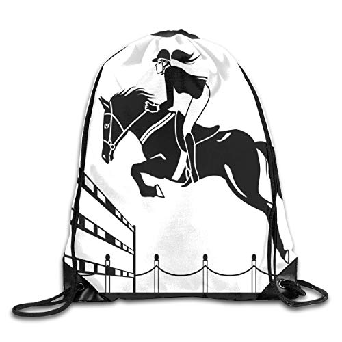 EELKKO Drawstring Backpack Gym Bags Storage Backpack, Racing Horse with A Jockey Girl Jumping Above Barrier Barn Farming Image Print,Deluxe Bundle Backpack Outdoor Sports Portable Daypack (Racing Horse Cart)