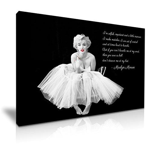 Leinwandbild mit Marilyn Monroe als Ballerina mit englischem Zitat und roten Lippen, Kunstdruck 76cm x 50cm