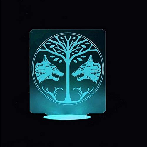 Dwthh Kreative 3D Visuelle 7 Bunte Doppel Wolf Baum Modellierung Leuchte Dekor Geschenk Led Schreibtisch Usb Baby Nachttischlampe Nachtlicht