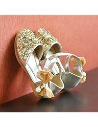 Primavera otoño niños niñas Zapatos Bowknot niños Princesa Sandalias Antideslizantes Brillantes Bailarinas de Baile Zapatos de Vestir para niños - Color Oro 32