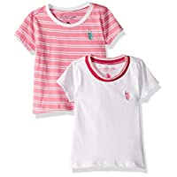 ‏‪U.S. Polo Assn. تي شيرت بناتي موحد مخطط قطعتين Pink White Multi 4‬‏