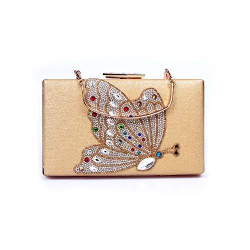 WARM nach Hause Frauen Square Flat Frame mit Strass Schmetterling Bankett Kupplung Hochzeitskleid Tote Chain Tilt Abend Größe: 20 * 3,5 * 12cm (Farbe : Gold)