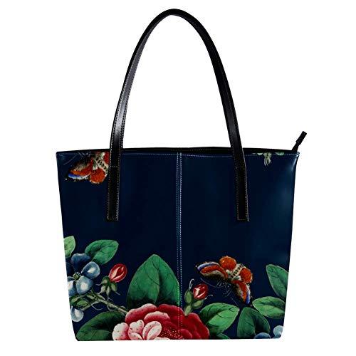 Women's Bag Shoulder Tote handbag with Chinese Painting Flowers Butterflies print Zipper Purse PU Leather Top-handle Zip Bags -