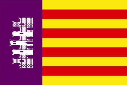Michael & Rene Pflüger Barmstedt 8,4 x 5,4 cm Autoaufkleber Fahne von Mallorca Flaggen Sticker Aufkleber fürs Auto Motorrad Handy Laptop