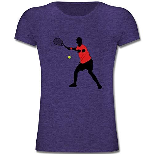 Sport Kind - Tennis Vorhand - 164 (14-15 Jahre) - Lila Meliert - F131K - Mädchen Kinder T-Shirt