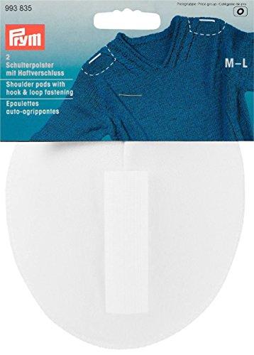 Prym Medium/Large 2-teilig Raglan Schulterpolster mit Haken und Klettverschluss, weiß