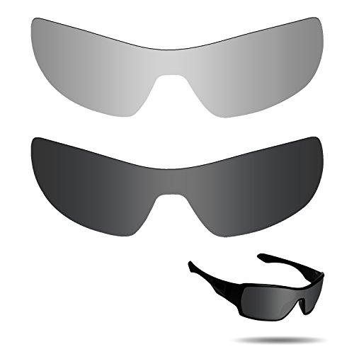 Fiskr Anti-Salzwasser-Polarisierte Ersatzgläser für Oakley Offshoot Sonnenbrillen, 2 Paar, Stealth Black & Metallic Silver, 0 US