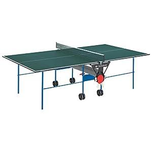 Schildkröt Tischtennisplatte Joker, Indoor Automatiktisch, 16 mm Feinspannplatte, grüne Oberfläche, blaues Untergestell, klappbar und durch Räder leicht fahrbar, 838542