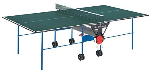 Tischtennisplatte Joker, Indoor Automatiktisch, 16 mm Feinspannplatte, grüne Oberfläche, blaues Untergestell, klappbar und durch Räder leicht fahrbar, 838542